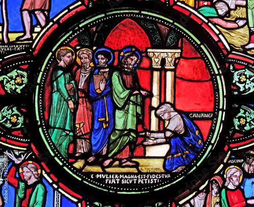 Jesus and the Canaanite woman, stained glass window from Saint Germain-l'Auxerro Wallpaper Mural