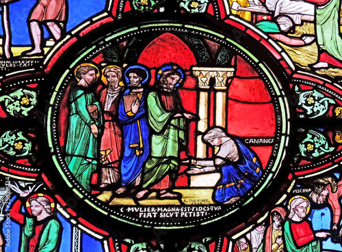 Photo Jesus and the Canaanite woman, stained glass window from Saint Germain-l'Auxerro