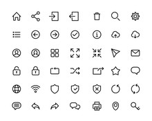 Web Ui Icon Set Simple Flat Style Outline Vector Sign