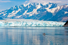 A Tiny Sailboat Approaches The Towering Hubbard Glacier In Alaska
