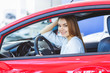Beautiful happy woman choosing a car at the dealership