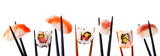 Creative sushi rolls on bamboo chopstick isolated on white background. Japanese luxury cuisine menu.