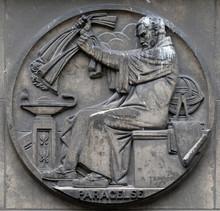 Paracelsus, Was A Swiss Physician, Alchemist And Astrologer Of The German Renaissance. Stone Relief At The Building Of The Faculte De Medicine Paris, France