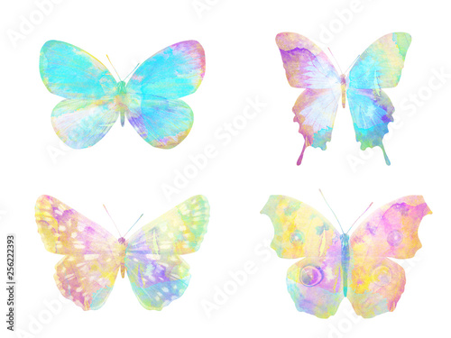 Tuinposter Vlinders set of watercolor butterflies. isolated on white background