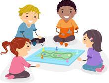 Stickman Kids Play Board Game ...