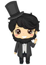 Kid Boy Abraham Lincoln Costume Illustration