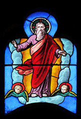NaklejkaGod the Father, stained glass window in Church of Saint Leu Saint Gilles in Paris, France