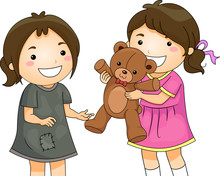 Kid Girls Share Toy Bear Unfor...