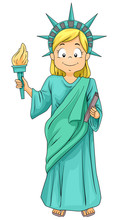Kid Girl Statue Of Liberty Cos...