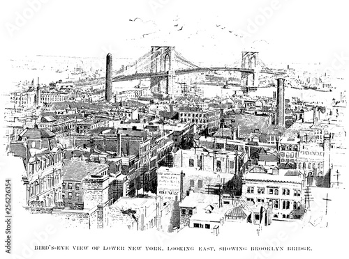 New York city. Engraving illustration