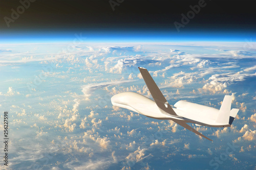 Unmanned aircraft flying in the upper atmosphere, the study of the gas shells of the planet Earth Canvas Print