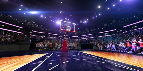 Široki pogled na košarkaško igralište. sve u korti u malo defokusirajuće pozadine