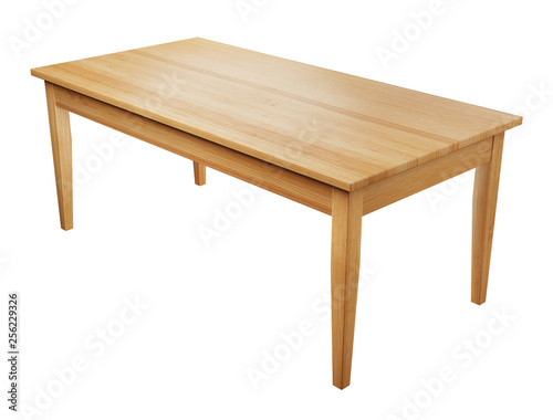 big, wooden table isolated on white background with clipping path included, 3D render Wall mural