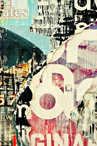 Old grunge ripped torn vintage collage colorful street posters creased crumpled paper surface placard texture background backdrop Fototapete