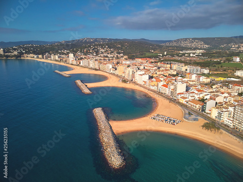 Aerial drone picture from small village Sant Antoni de Calonge from Spain, in Co Fotobehang