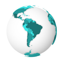Blank Political Map Of South America. 3D Earth Globe With Turquoise Blue Map. Vector Illustration