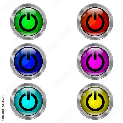 Fotografía  Power icon. Set of round color icons.