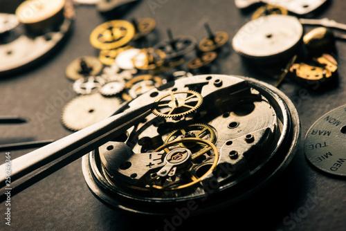 Fototapeta many parts of mechanical wristwatch obraz