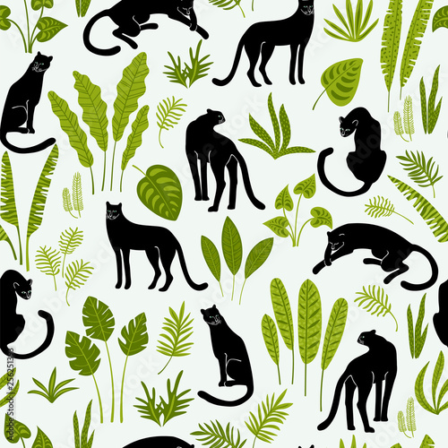 Fototapeta Vestor seamless pattern with panthers and tropical leaves.