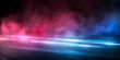 Background of the room with concrete pavement. Blue and pink neon light. Smoke, fog, wet asphalt with reflection of lights. Abstract light, searchlight rays. Night view of the street with lights, dark