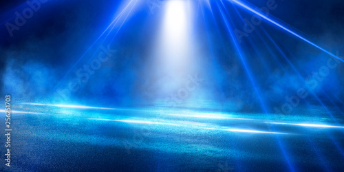 Fototapety, obrazy: Background of the room with concrete pavement. Blue and pink neon light. Smoke, fog, wet asphalt with reflection of lights. Abstract light, searchlight rays. Night view of the street with lights, dark