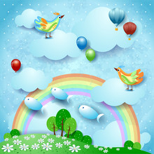 Surreal Landscape With Rainbow, Balloons, Birds And Flying Fishes