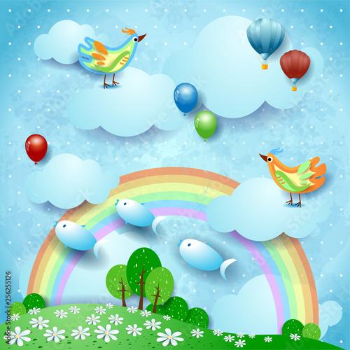 Keuken foto achterwand Vliegtuigen, ballon Surreal landscape with rainbow, balloons, birds and flying fishes