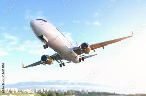 Canvas Prints Airplane Commercial Airplane close fly by