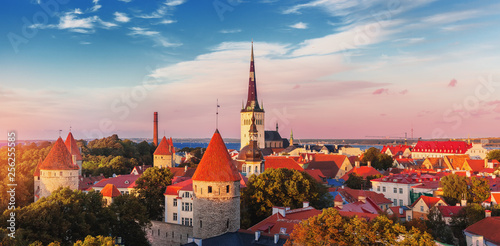 Aerial view of Tallinn old town on sunset time. Estonia