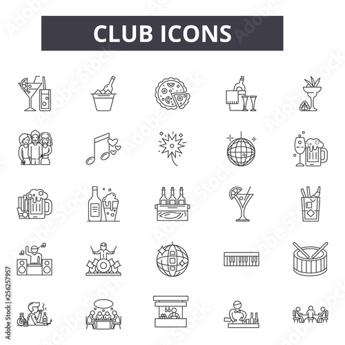 Foto Club line icons for web and mobile