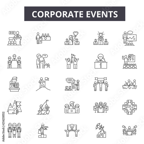 Valokuvatapetti Corporate events line icons for web and mobile