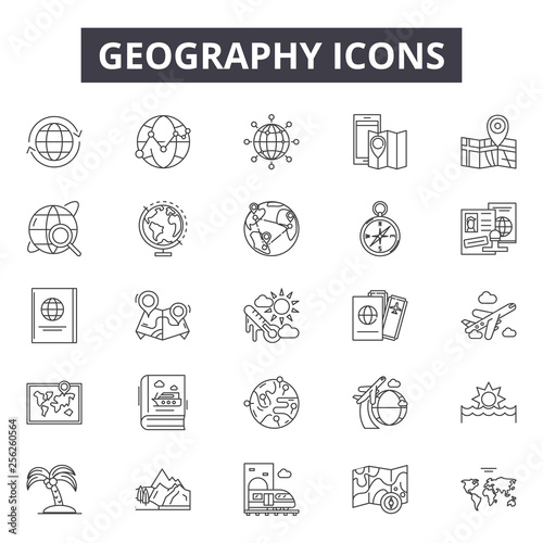 Fotografia  Geography line icons for web and mobile