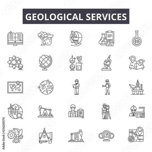 Obraz na płótnie Geological services line icons for web and mobile