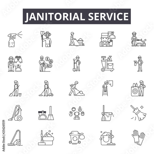 Obraz na plátne Janitorial service line icons for web and mobile