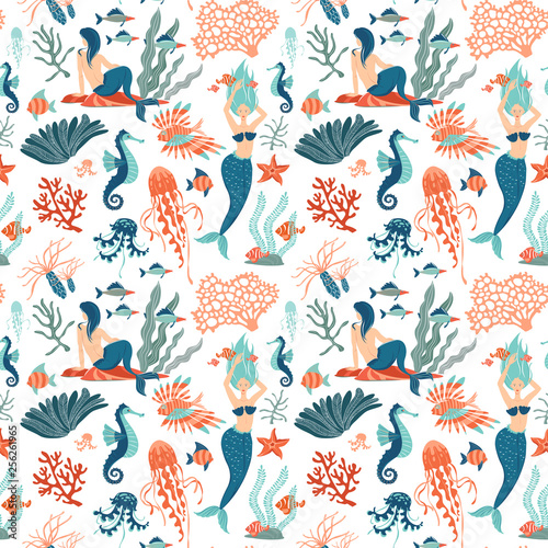 mata magnetyczna Magic seamless pattern Underwater animals mermaids Marine Life. background