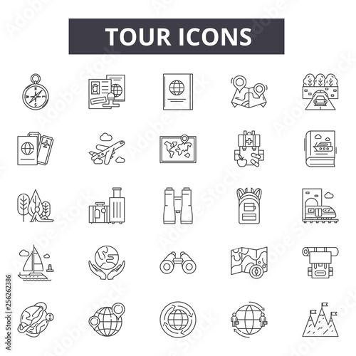 Obraz na płótnie Tour line icons for web and mobile