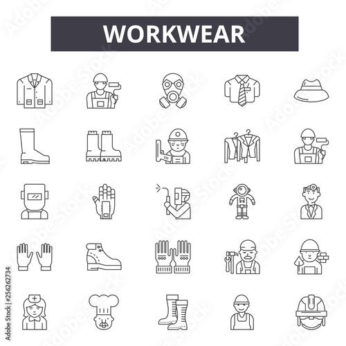 Fototapeta Workwear line icons for web and mobile. Editable stroke signs. Workwear  outline concept illustrations obraz na płótnie