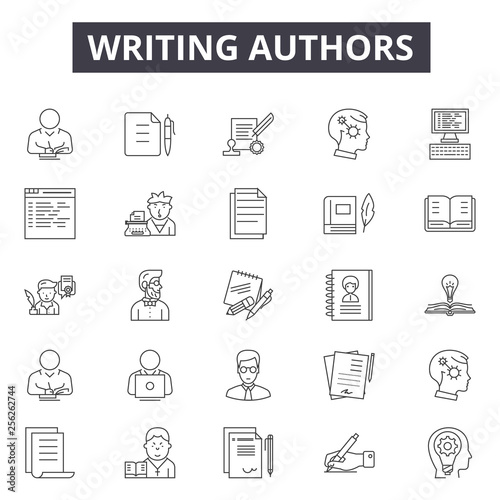 Fototapeta Writing authors line icons for web and mobile. Editable stroke signs. Writing authors  outline concept illustrations obraz na płótnie