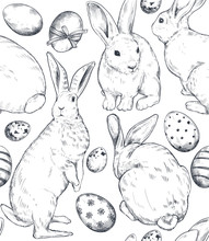 Vector Seamless Pattern With Hand Drawn Rabbits And Easter Eggs.