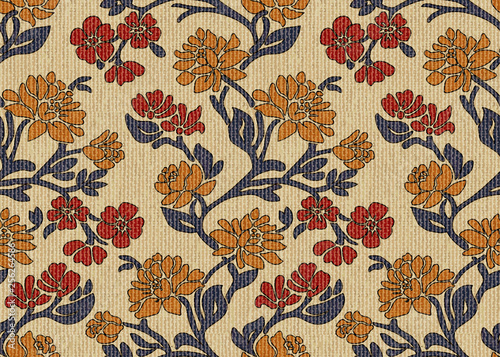 Vintage hand-drawn floral upholstery fabric seamless pattern Canvas Print