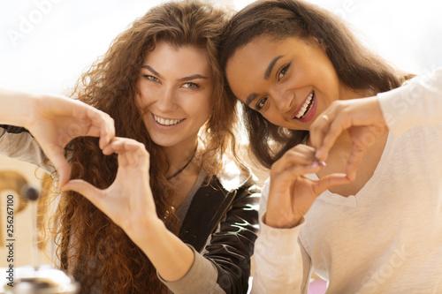 Fotografie, Obraz  Cheerful girls holding hand in heart shape