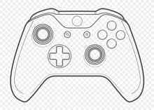 Vector Outline For Playing Video Games Console Controller Illustration With Transparent Background