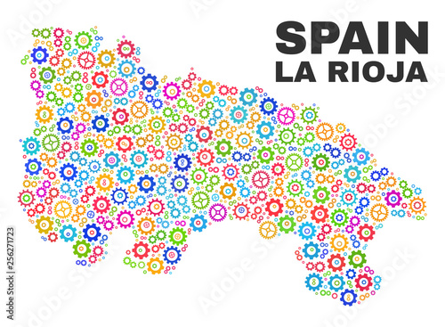 Mosaic technical La Rioja of Spain map isolated on a white background. Vector geographic abstraction in different colors. Mosaic of La Rioja of Spain map combined of random colorful cog items.