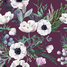 Watercolor Seamless Pattern, Full Color, Hand Drawn Illustration.