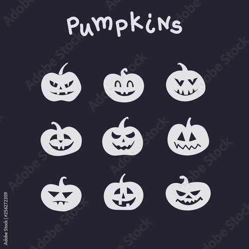Fotografie, Obraz  Collection of funny pumpkins with different emotions for Halloween