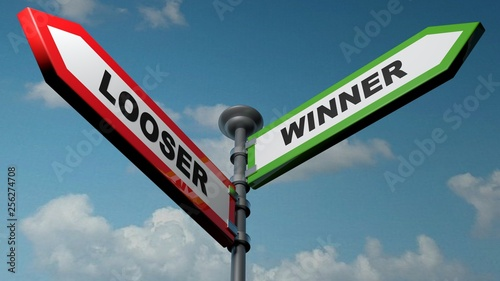 Looser - Winner street signs - 3D rendering illustration Принти на полотні