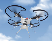 Police Drone Realistic In Sky Composition