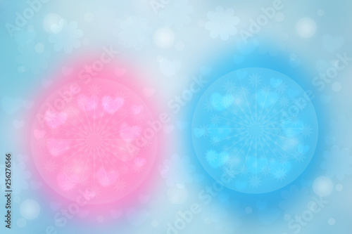 Abstract festive blur bright blue pink pastel background with hearts love bokeh for wedding card or Valentine's day.  Romantic textured backdrop with space for your design. Card concept.