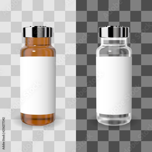 Realistic transparent brown and white medicine vial with label Canvas Print