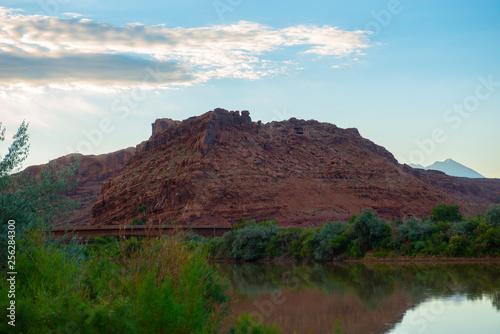 Photo sur Aluminium Gris traffic Mesa and Butte landscape in Arches National Park, Moab, Utah, USA.